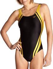 Speedo Quantum Spliced Racing Lycra Swim Suit Swimming Wear Women Black Gold 34