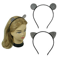 2 PCS Black Metal Thin Headband Hairband Ears with Tiny Rhinestones Assorted