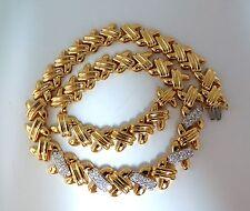 "$11000 2.00ct. diamonds crosslinked ""X"" eternity necklace. 14kt. heavy make"
