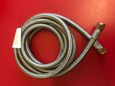 """BBQ 8mm STAINLESS BRAIDED LPG HOSE WITH 3/8"""" FEMALE SAE FLARE NUT ENDS x 1800MM"""