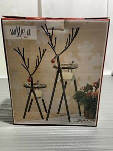 San Miguel Reindeer Candle Holder in Rustic Iron set of 2