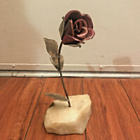 Vintage Rose Flower w/ Leaves Copper Metal Art Sculpture on Stone Unknown Sig.