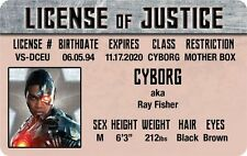 The JUSTICE LEAGUE of AMERICA Cyborg RAY FISHER ID card Drivers License