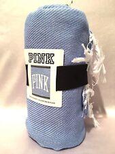 NWT VICTORIA'S SECRET PINK BLUE BOYFRIEND PICNIC BEACH LARGE SOFT BLANKET 50x60