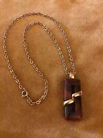 Vintage Trifari Gold Tone Brown Marbled Lucite Modernist Pendant Necklace