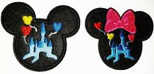 Mickey Mouse & Minnie Patches Disney Castle 2 Embroidered Iron On Appliques