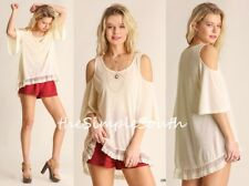 NWT UMGEE Cream Lace Ruffle Hem Bell Slv Drapey Swing Cold Shoulder Tunic Top L