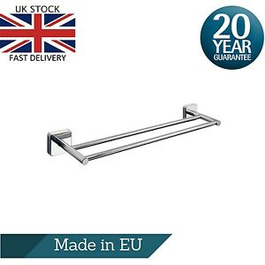 Bathroom Double Towel Rail - 50cm or 60cm, Square Stainless Steel Self Adhesive