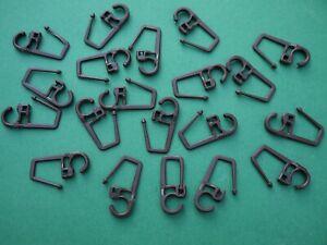 20 Faltenlegehaken braun 7mm Öse für Gardinen Ringe Überklips Falten Haken Nr.4