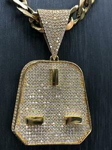 375 9ct Yellow GOLD ICE OUT MICRO PLUG MENS Icy Shine Shiny BLING RAPPER PENDANT