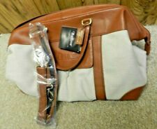 Bellino Tan Leather & Canvas Carry On/Duffel/Travel/Weekend Bag Italian Leather