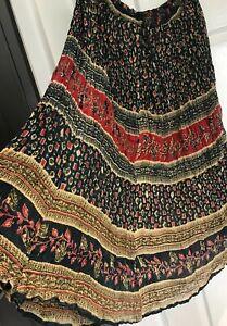 SKIRT Gypsy Vintage Long Cotton FREE SIZE hippie Boho Folk Drawstring Plus