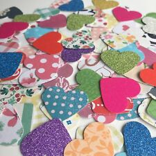 "100 SMALL 1"" PAPER HEART WEDDING SCRAPBOOKING CRAFT EMBELLISHMENTS"