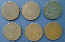 Short Series 1864-1869, Six (6) Two Cent Coins Good/Very Good Nicely Matched Set