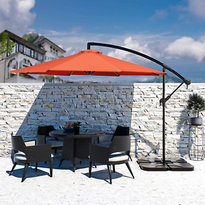 Hanging Patio Umbrella Large Polyester UV Protected Sun Shade 10 Ft Cantilever