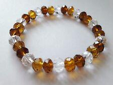 "8X6MM Amber/Tiger/Clear Rondelle Faceted Crystal Bead 7"" Stretch Bracelet - UK"
