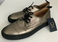 Fred Perry Taylor Womens Derby Shoes UK 5 EU 38 Metallic Leather Gold Lace Up