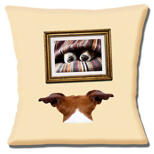 """FUNNY CUTE JACK RUSSELL TAN WHITE 'MOURNING LOST LOVE' 16"""" Pillow Cushion Cover"""