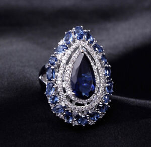 18k White Gold Large Index Ring made w/ Swarovski Crystal Blue Sapphire Stone
