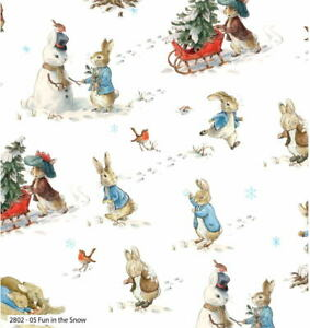Beatrix Potter Peter Rabbit Christmas Fun in the Snow 2802C-05 Cotton Fabric BTY