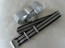 2 James Bond No Time to Die Watch Straps Milanese Mesh and Nato for Omega 20mm