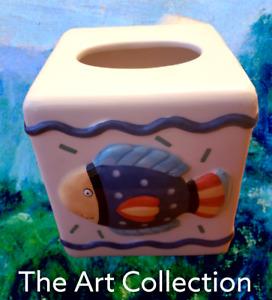 Coco Dowley Ceramic Square Tissue Box Holder Cover with Fish
