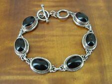 "Black Onyx Oval Stones Toggle Clasp Sterling 925 Silver Bracelet 8 1/2"" Long"