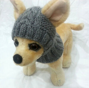 Pet Clothes Apparel Outfit Handmade Knit Gray Hoody Snow-Hat for Small Dog