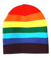 Cuffless Winter Rainbow Beanie