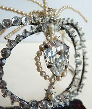 Peigne diadème bijou de cheveux strass et perles 19e siècle  comb tiara