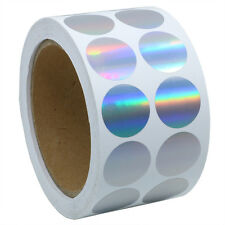 """Silver Color Coding Dots   Tiny Holographic Round Dot Stickers 1"""" Labels"""
