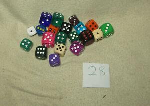 Würfel-Mix 28 - 20x W6 / sechseitige Spielwürfel - Verschiedene Größen / Farben