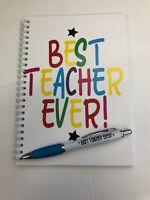 Best teacher ever notebook and pen teacher gift