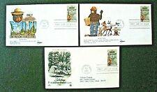 3 Smokey Bear 1984 First Day of Issue Cancellations  Smokey Bear Stamp   Capitan