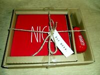 """Rae Dunn NEW Long Letter Red  Christmas """"NICE"""" Cheese Board and """"Naughty"""" Knife"""