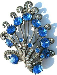 EISENBERG ORIGINAL Sterling Silver MASSIVE Blue Rhinestone Spray Fur Clip