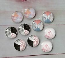 10PCS 12mm Handmade Glass Cabochon Marble match Cameo Cabs Glass Dome A61