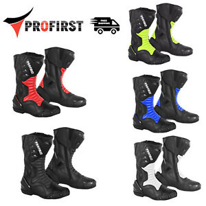 Motorbike Racing Motorcycle Riding Leather Boots Waterproof Biker Shoes Armoured