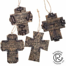 INSPIRATIONAL WOODEN CROSS CHRISTMAS ORNAMENTS  WESTERN DECOR LOT OF 4