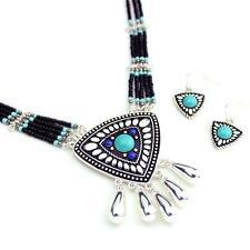 Wyo-Horse Western Jewelry Womens Necklace Earring Dream Catcher Turq Silver