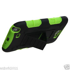 Samsung Galaxy Note II 2 Hybrid C Armor Case Skin Cover w/ Stand Black Green
