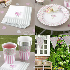 FRILLS & SPILLS TEA PARTY SET-Shabby Chic Kit: Paper Plates/Napkins/Cups/Bunting
