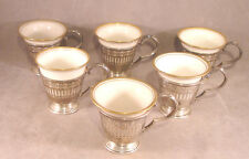 1920s Set of 6 Watson Demitasse Cups & 6 Lenox Inserts Sterling Silver Marked