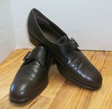 Munro Women's Monk Strap Shoes Menswear Look Brown 13 N Silver Buckle Very Nice