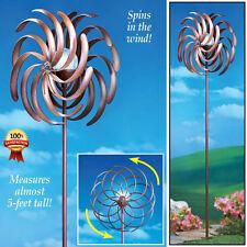 Wind Spinner Solar Light Garden Yard Outdoor  Stakes Glass Double Pinwheel Brown