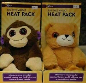 2x Big Eyes Wheat Heat Pack Microwave Cuddly Toy Lavender Scented Monkey & Bear