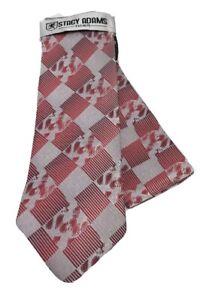Stacy Adams Men's Tie Hanky Set Red Silver 100% Microfiber Hand Made