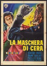 MANIFESTO, LA MASCHERA DI CERA House of Wax VINCENT PRICE, RARA 2a EDIZIONE 1960