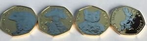 ALL 4 Coins Beatrix Potter  Gold Plated with Rhodium