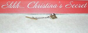 """HICKOK USA ~ Gold Silver """"A"""" Engraved Tie Tack Pin Clasp/Bar w/ Chain * XLNT"""